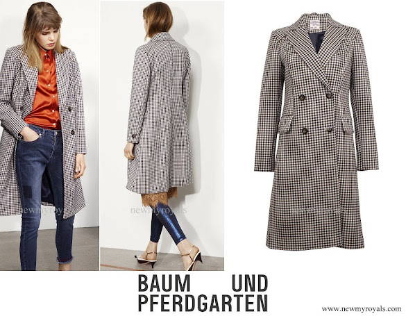 Crown Princess Mary wore Baum und Pferdgarten Damara Long checkered coat