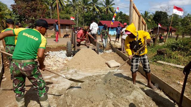 Karya Bakti Satgas Pamtas RI-PNG Yonif 411 Kostrad di Kampung Toray Papua