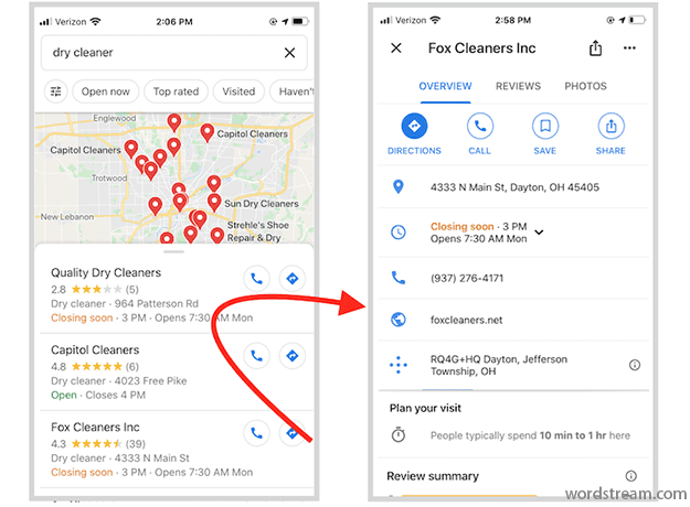 معلومات حول نشاطي التجاري على جوجل شكل ظهور الملفات التجارية على الهاتف