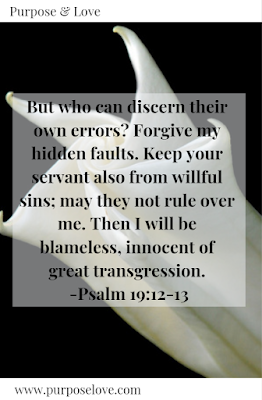 But who can discern their own errors? Forgive my hidden faults, keep your servant also from willful sins; may they not rule over me. Then I will be blameless, innocent of great transgression. Psalm 19:12-13