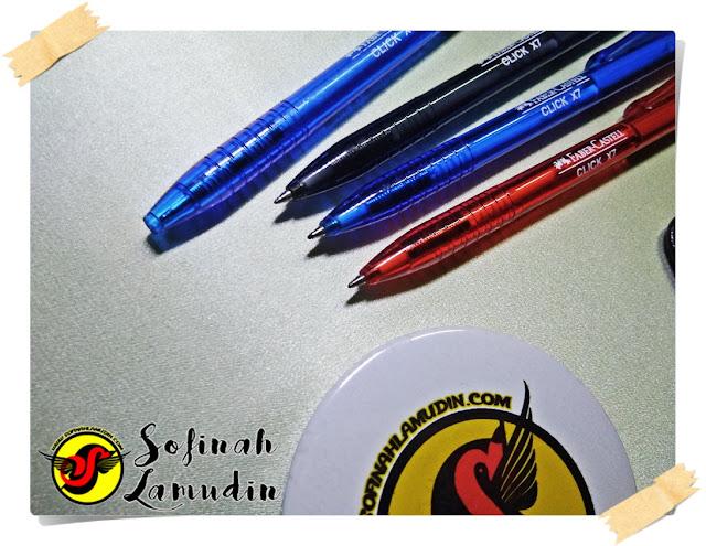 Koleksi Alat Tulis | Ball Pen Untuk Menulis Nota Atau Mencatat | Review dan Kelebihan Ball Point Pen Mengikut Jenama Alat Tulis - Faber-Castel Click X7 ball point pen