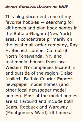 snippet showing description of the blog Catalog Houses of Western New York by Sarah Mullane