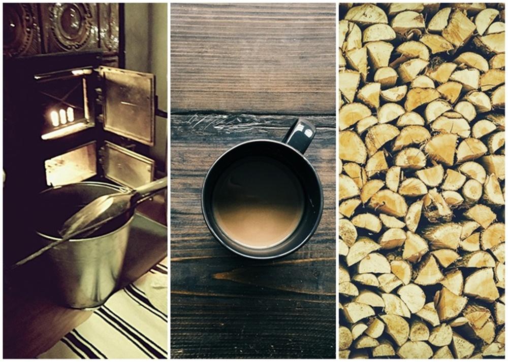 kawa przy kominku