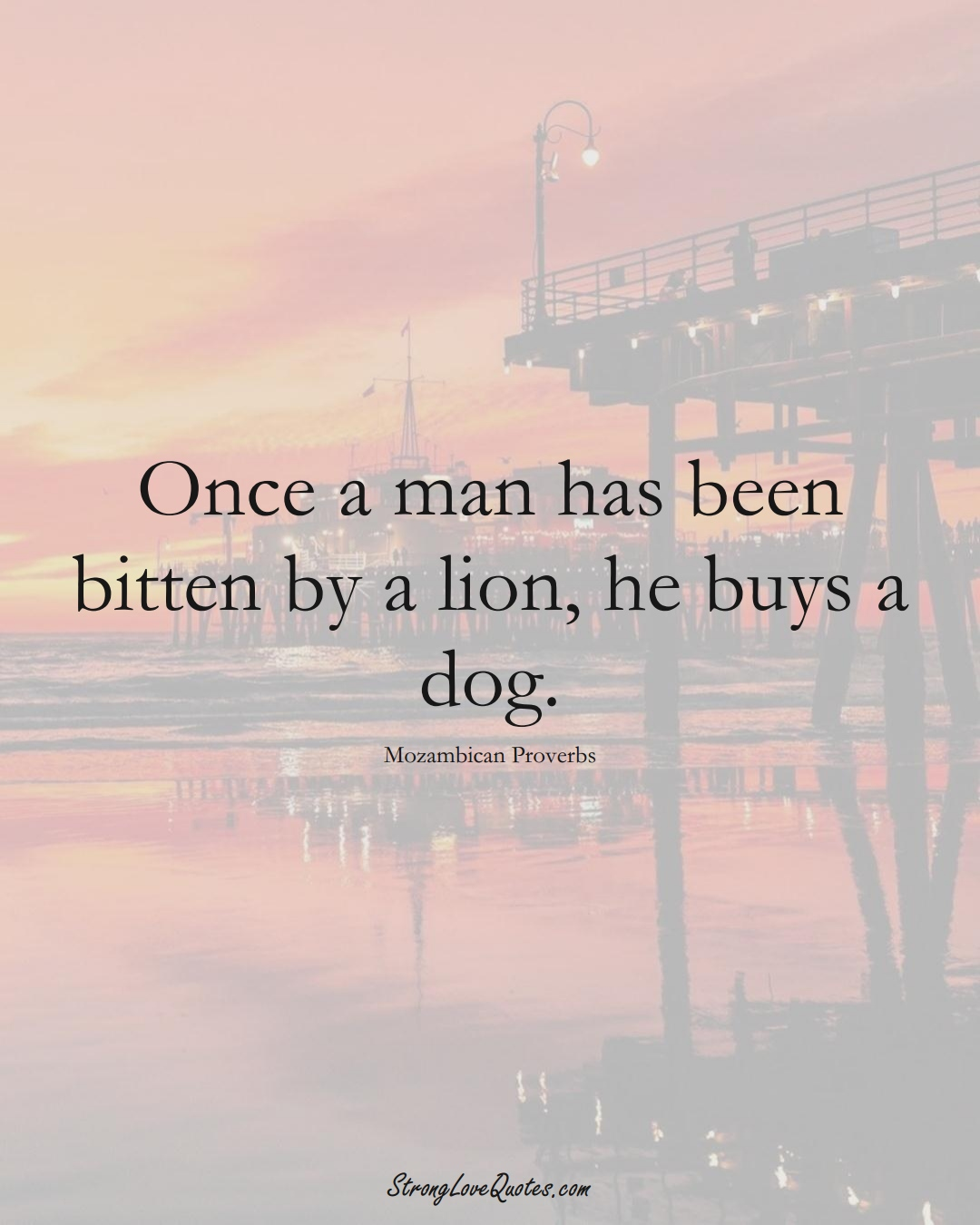 Once a man has been bitten by a lion, he buys a dog. (Mozambican Sayings);  #AfricanSayings
