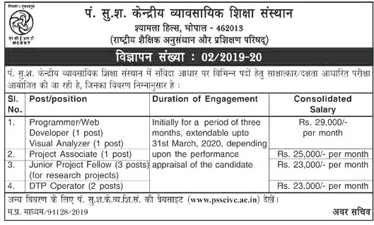 PSSCIVE, Bhopal Contract Basis Recruitment 2019 Notification