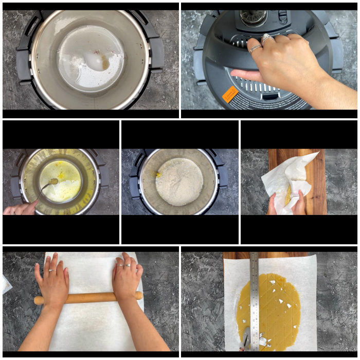 A collage of step by step pictures of no added sugar badam katli in instant pot