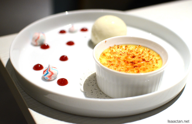 Creme Brulee with White Chocolate Sherbet