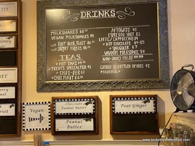 drink menu at Treats in Nevada City, California