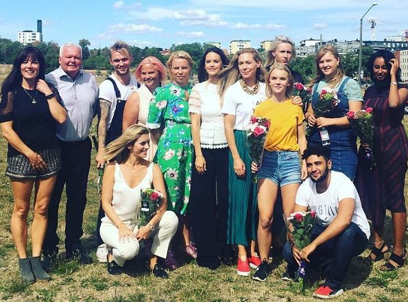 Princess Sofia of Sweden visited LMLGA (Let´s Make Love Great Again) Festival held in Gärdet, Stockholm. is wearing white lace top