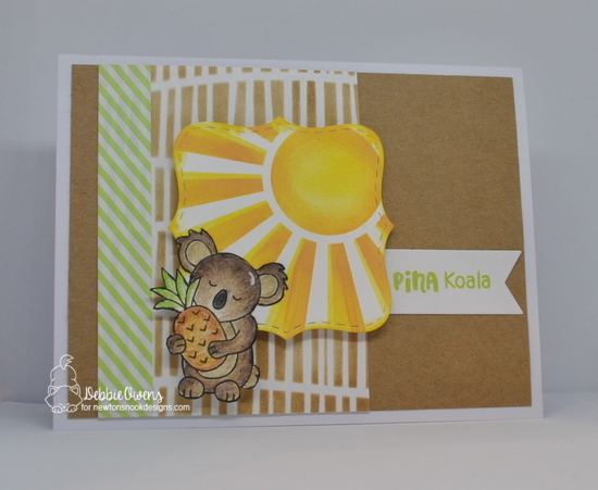 Pina koala by Debbie features Sunscape, Serene Stripes, Pina Koala, Frames Squared, and Frames & Flags by Newton's Nook Designs; #newtonsnook