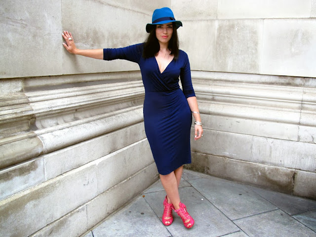 Emma Louise Layla navy wrap ASOS dress and bright blue trilby hat