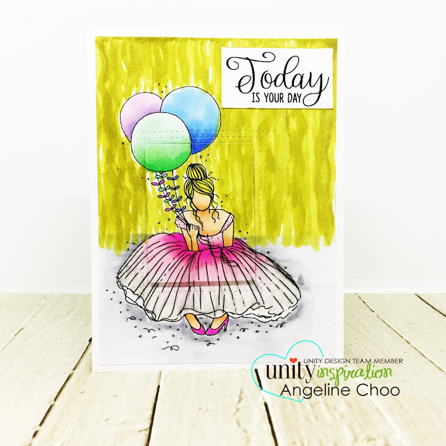 ScrappyScrappy: Unity Stamp's 10th Birthday Party - Margaret Girl #scrappyscrappy #unitystampco #card #cardmaking #stamp #stamping #craft #crafting #scrapbook #quicktipvideo #youtube #video #papercraft #copicmarkers #winkofstella #spectrumnoir #birthdayparty #birthdaycard #mftstamps #peekaboocard #popupcard
