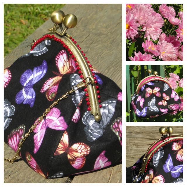 Черная сумочка для девушки: бабочки на черном, ярко-розовый бисер по верху и винтажный фермуар с цепочкой