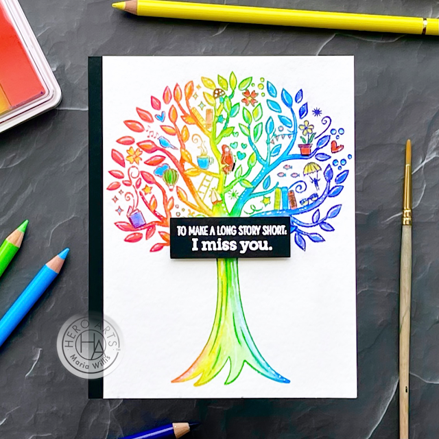 Cardbomb, Maria Willis, Hero Arts, My Monthly Hero March 2021, cards, cardmaking, stamps, stamping, paper, papercrafting,art, handmade,greeting cards, watercolor, diy, books, trees