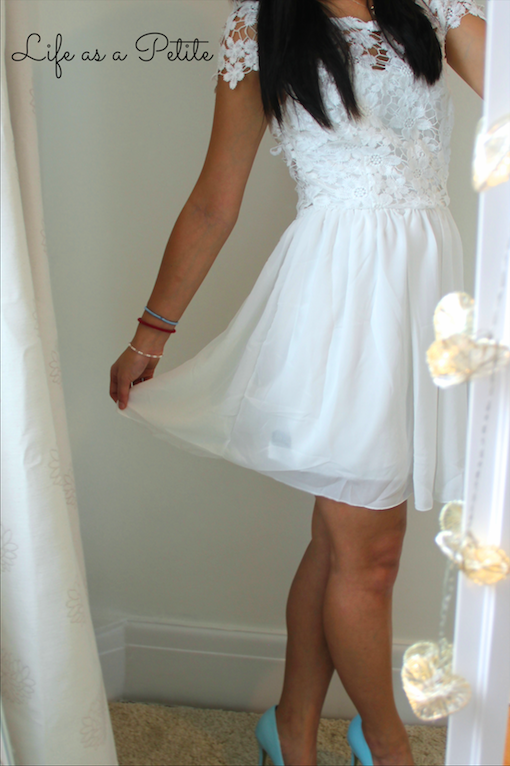 Lace and Chiffon White Dress - Life as a Petite