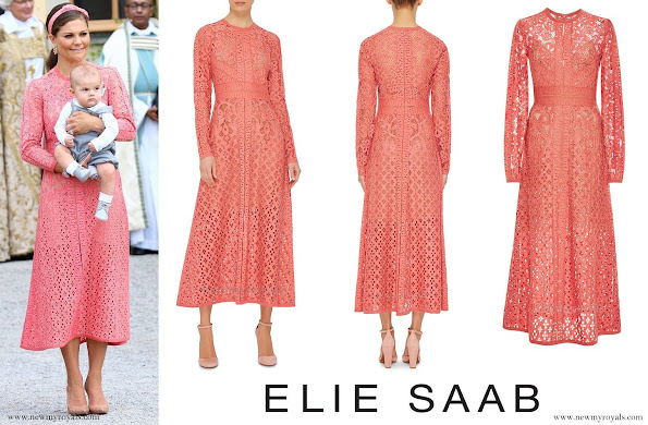 Crown Princess Victoria wore ELIE SAAB Guipure Lace Dress, Gianvito Rossi, Pumps, Kreuger Jewellery earrings, for Christening of Prince Alexander
