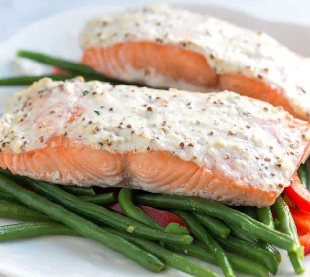 Easy Sour Cream Baked Salmon Recipe #diet #healthy