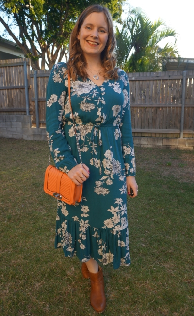 Kmart teal floral midi dress for night out with tan ankle boots peach rebecca minkoff small love bag | awayfromblue blog