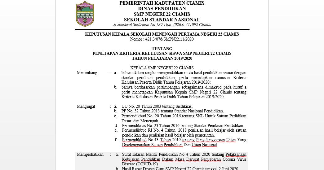 Contoh SK Kriteria Kelulusan Selama Masa Tanggap Darurat ...