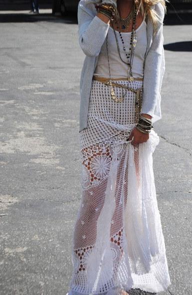 falda blanca larga ibicenca combinar hippie