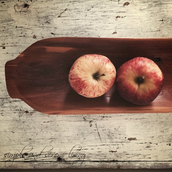 fall apples old wood bowl