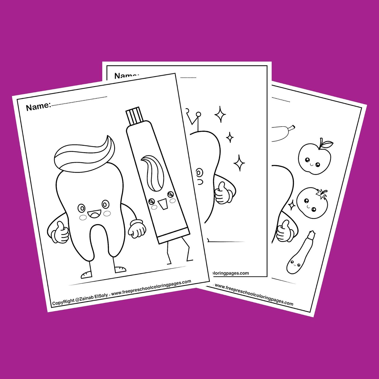 Dental Coloring Pages For Kids Cute Tooth Kawaii Design