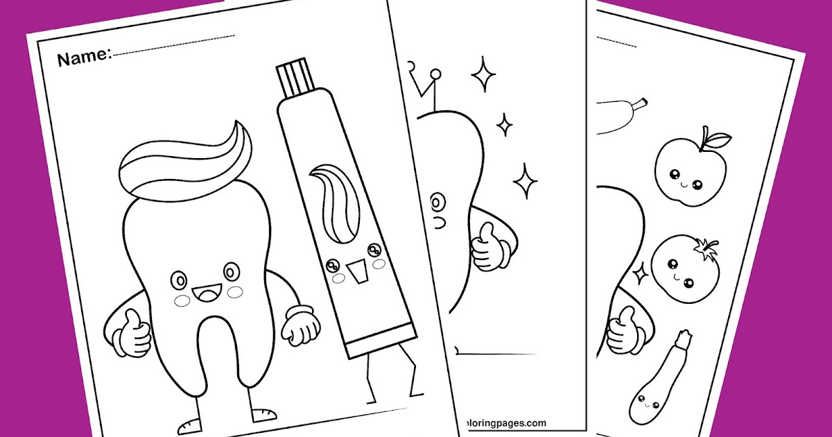 - Dental Coloring Pages For Kids ,Cute Tooth Kawaii Design