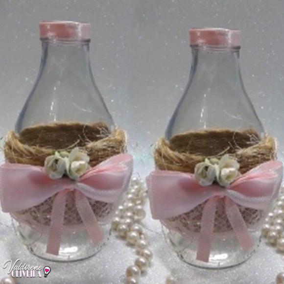 como fazer garrafinha decorada para cha de bebe -valdirene oliveira