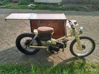 Kustom disain gerobak kopi ala Honda CUB Sespan .....