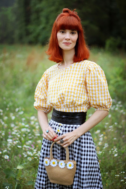 Daisy Purse Yellow Black Gingham SheIn Outfit Samba Sash Belt from ModCloth