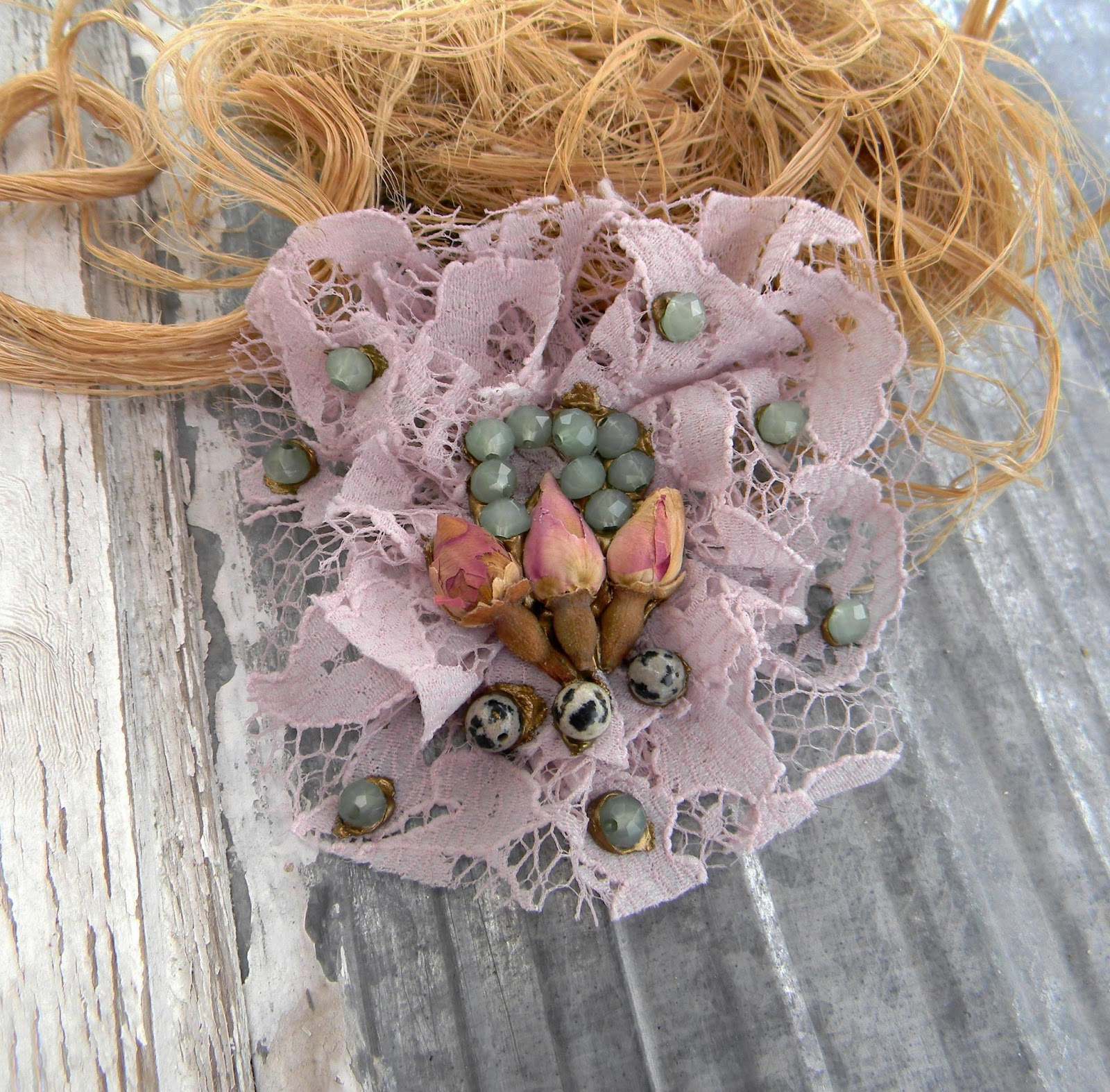 Unique Handcrfated Textile Brooch Shabby Eco Chic Inspired