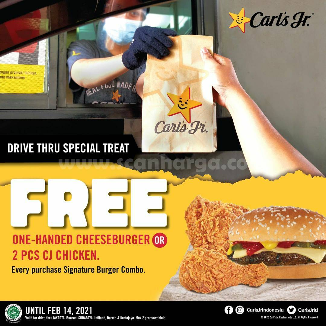 CARLS Jr Promo Drive Thru Special Treats! Gratis Cheeseburger atau 2 CJ Chicken