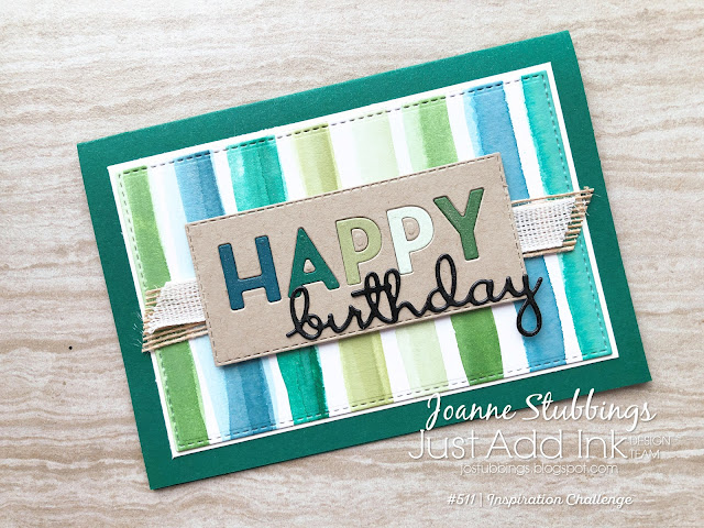 Jo's Stamping Spot - Just Add Ink Challenge #511 masculine card using Playful Alphabet and Well Written dies by Stampin' Up!