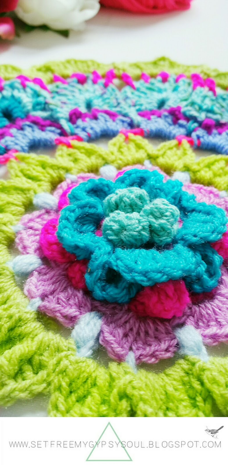 flower mandala crochet pattern free boho hippie doily home interior