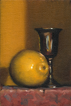 Still life oil painting of a lemon beside a small silver-plated goblet.