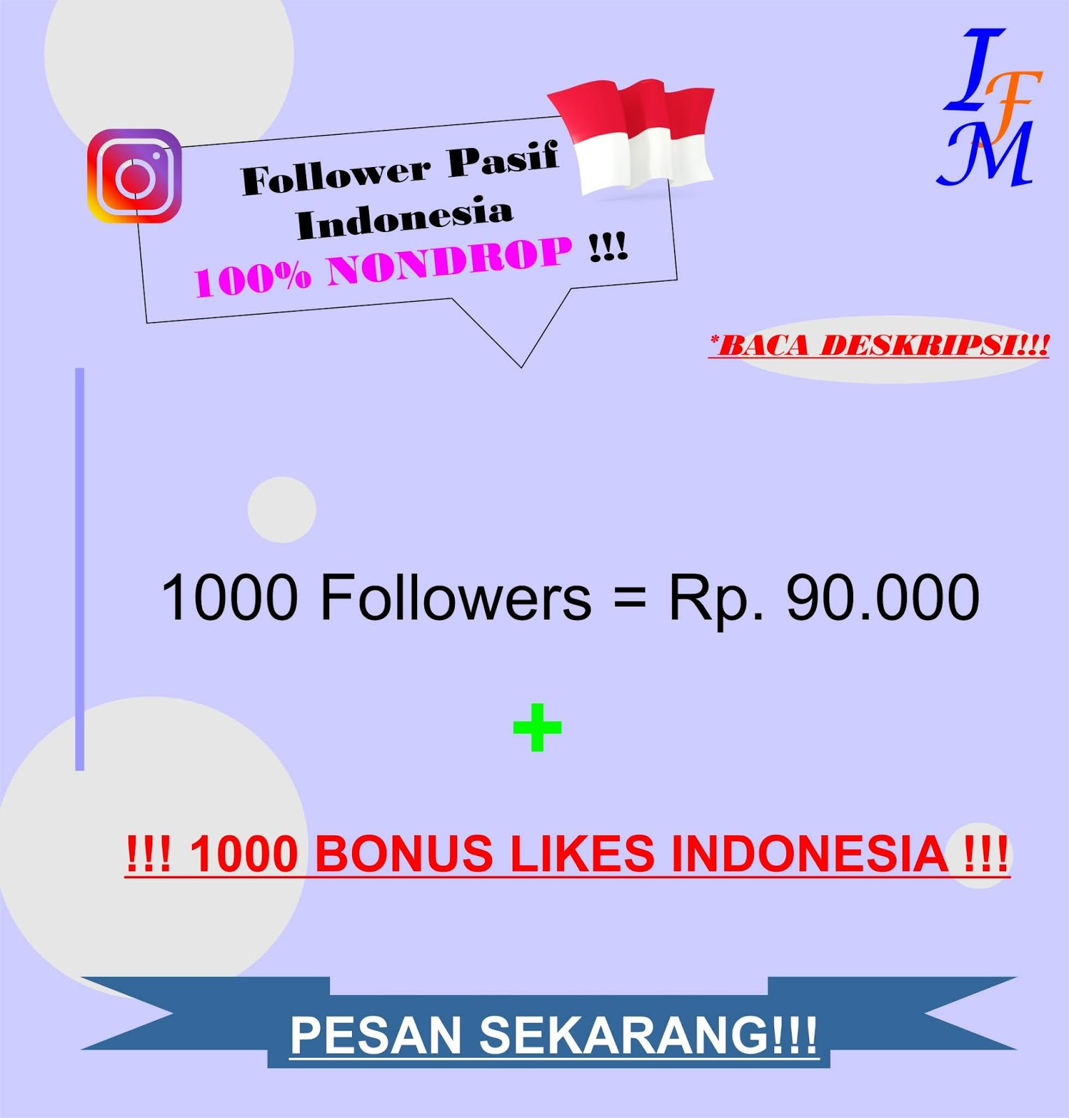 Jasa Tambah 1000 Follower Akun Instagram Pasif Original Indonesia 100% NONDROP Murah