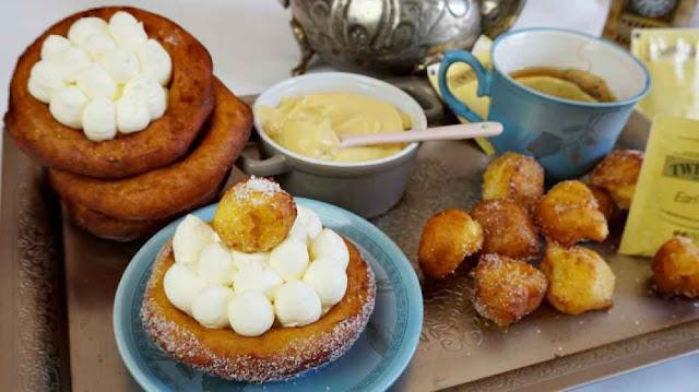 Tartaletas de buñuelos con crema de chocolate y earl grey