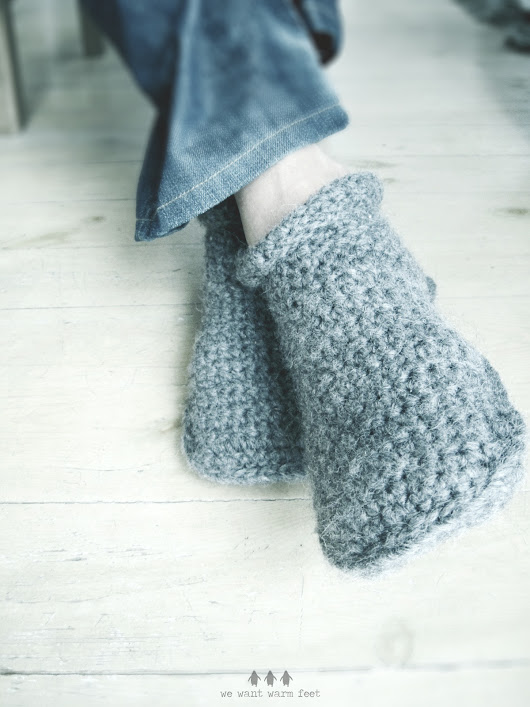 Slipper boots in heather flannel - good morning crochet