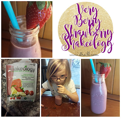 Erin Traill, Shakeology recipe, vegan strawberry, smoothie recipe, fit mom, clean eating, kid friendly clean eating recipe, strawberry, summer drinks, fit mom, fit kids, beachbody