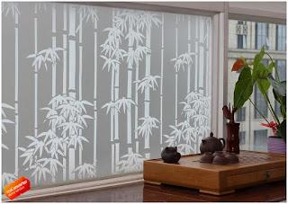 Stiker Kaca Motif Bambu Untuk Kaca Jendela