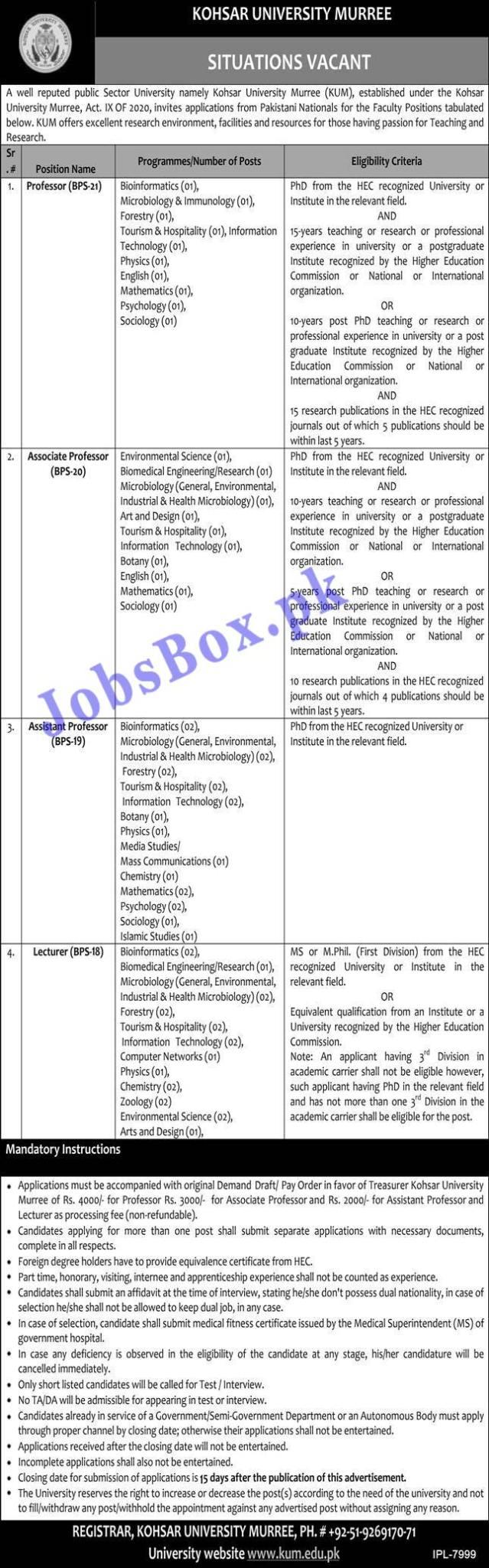 Kohsar University Murree Jobs 2021 KUM Jobs – wwww.kum.edu.pk