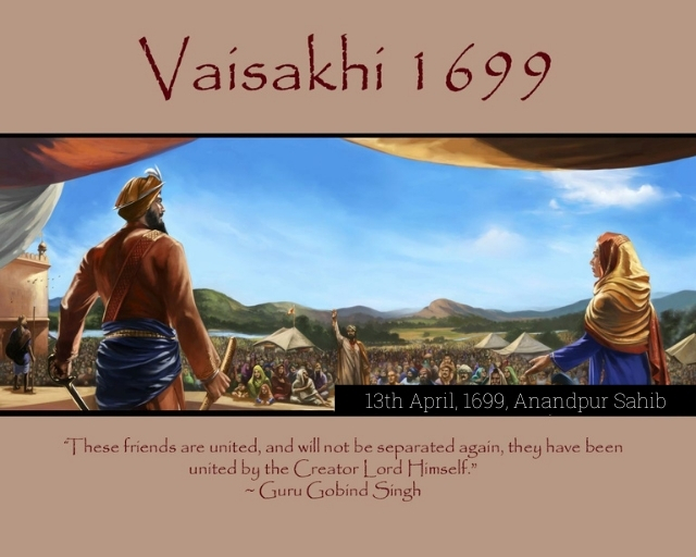 TENTH SIKH GURU GOBIND SINGH JI ON KHALSA INAUGURATION CEREMONY | 13 APRIL, 1699 AT ANANDPUR SAHIB |