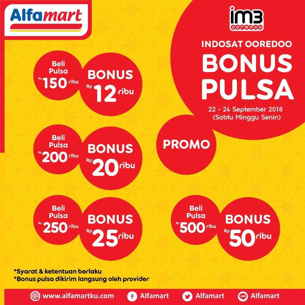 Alfamart - Promo Sabtu Minggu Senin Beli Pulsa Dapat Bonus Pulsa (s.d 24 Sept 2018)