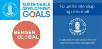 Logoer UiB SDG, Forum for vitenskap og demokrati, Bergen global