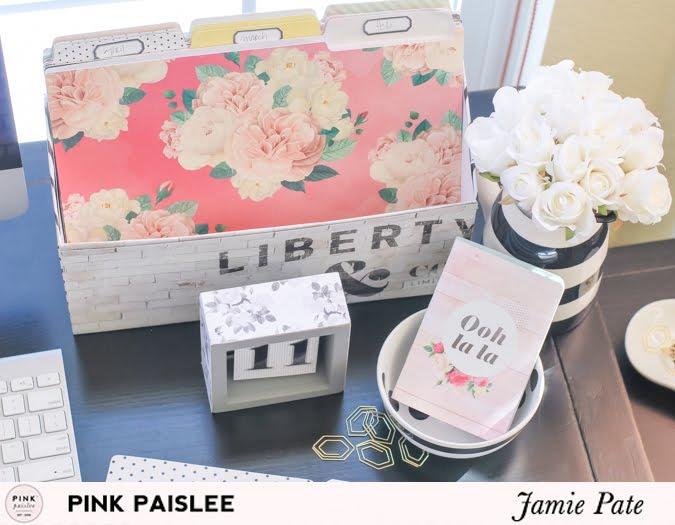 How to create desk decor using Pink Paislee's C'est La Vie | @jamiepate for @pinkpaislee
