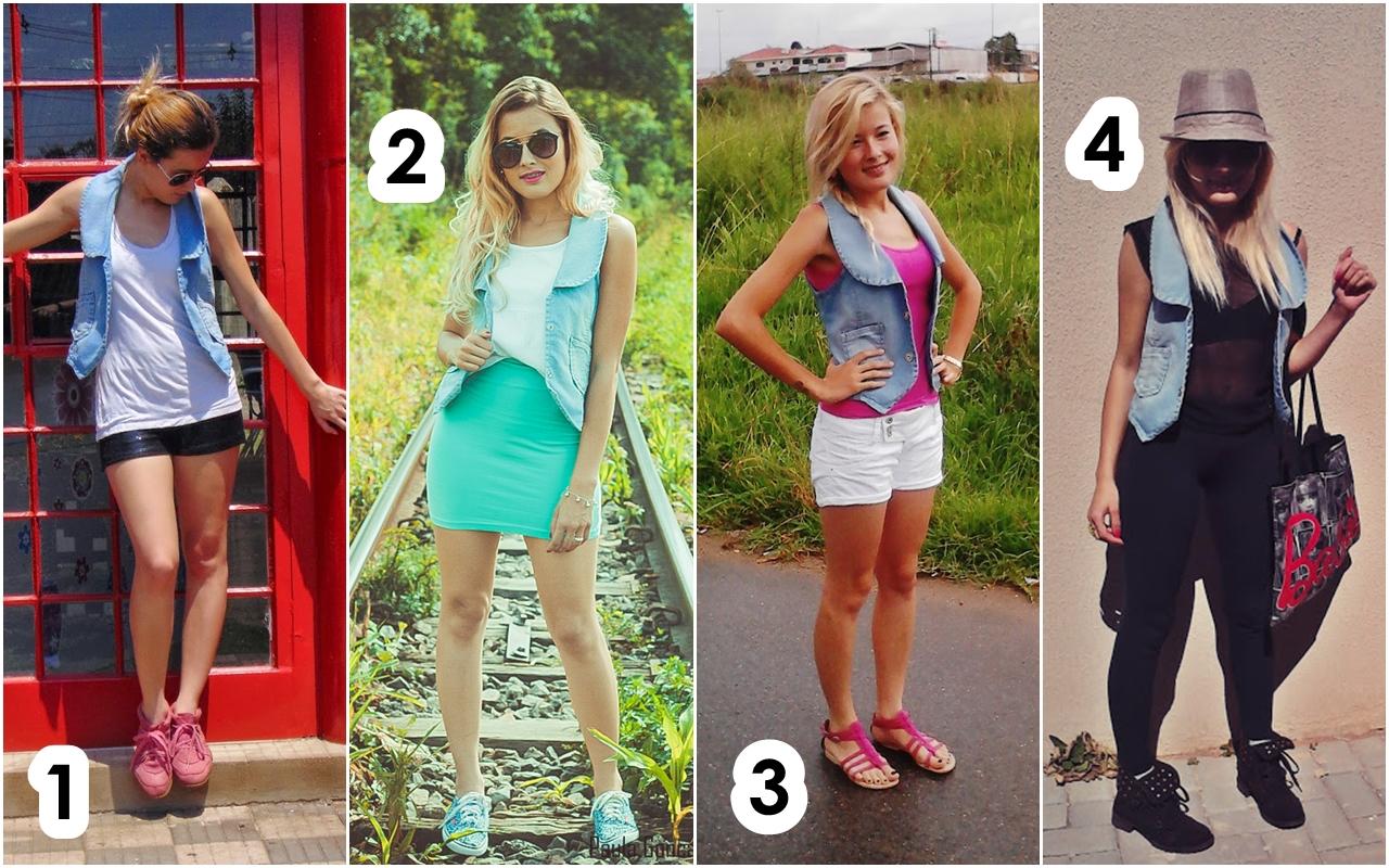 4 Looks com colete jeans- Ally Arruda