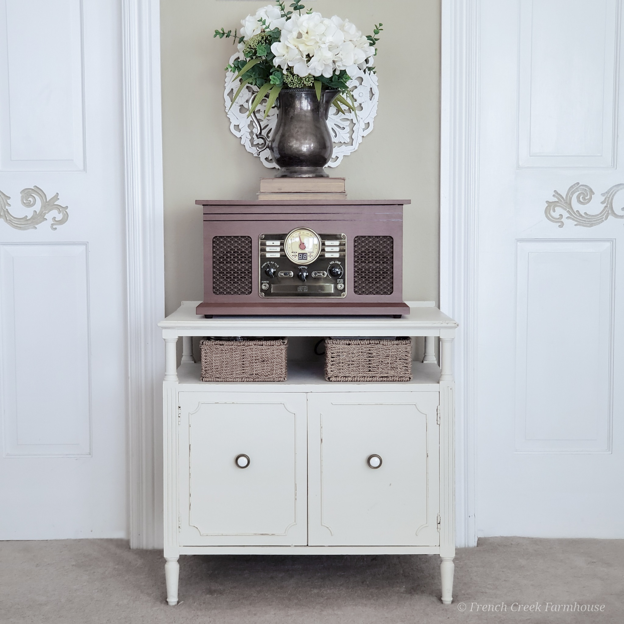 Vintage record cabinet paired with vintage-look stereo system