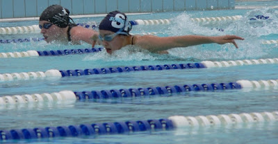 image of two swimmers in lap lanes doing butterfly. You need to learn how to swim butterfly with good dolphin kick, good arm movement and good breathing and timing