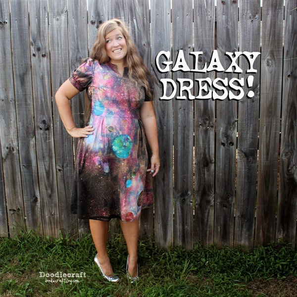 15 Out of this World Galaxy Crafts + DIY's! Tie dyed galaxy dress
