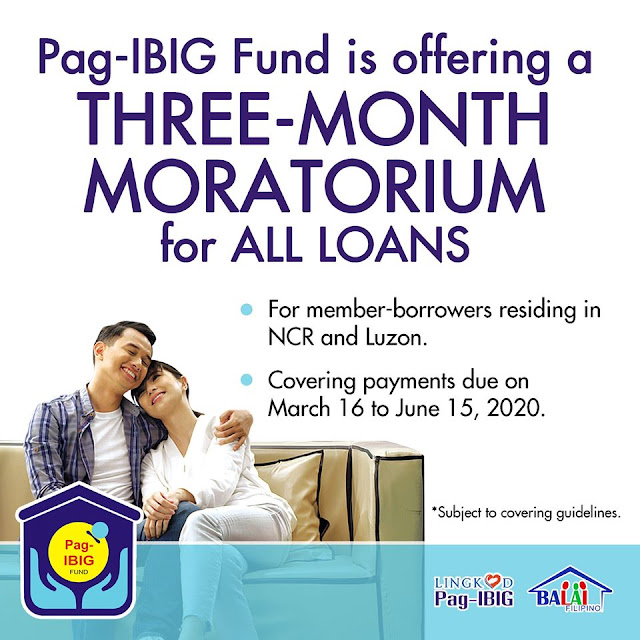 Pag-IBIG Fund is offering a three-month moratorium for all loans